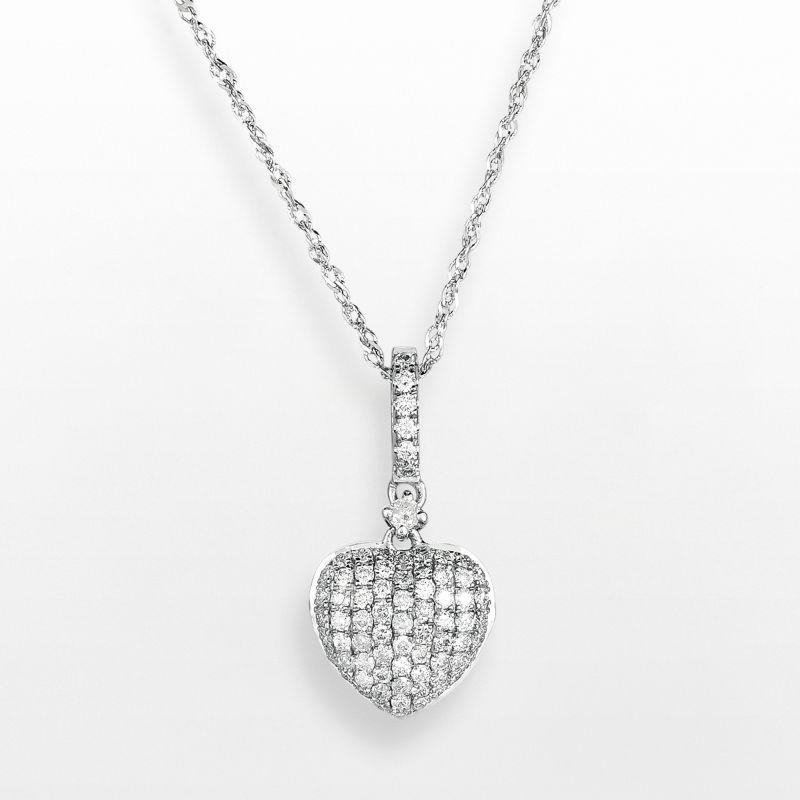 "14k White Gold .3 T.W. Diamond Heart Pendant, Women's, Size: 18"""