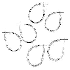 Mudd® Silver Tone Crisscross & Twist Oval Hoop Earring Set