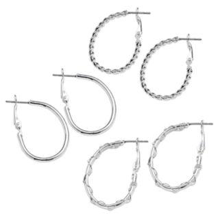 SO Silver Tone Crisscross and Twist Oval Hoop Earring Set