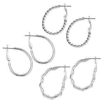 SO® Silver Tone Crisscross & Twist Oval Hoop Earring Set