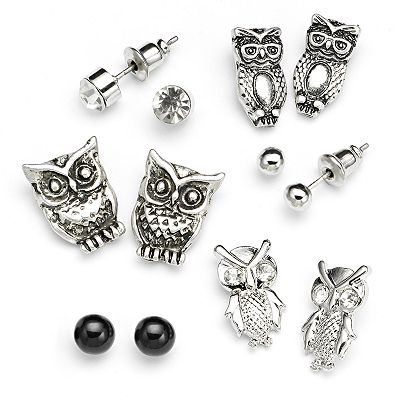 SO Silver Tone Simulated Crystal Textured Owl Stud Earring Set
