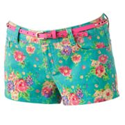 Wallflower Twill Floral Shortie Shorts - Juniors