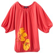 Chaps Floral Knit Dolman Top - Girls 7-16