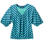 Chaps Striped Knit Top - Girls 7-16