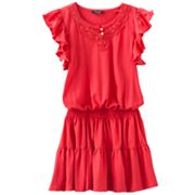 Chaps Crocheted Smocked Dress - Girls 7-16