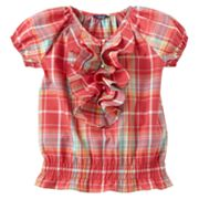 Chaps Plaid Ruffle Top - Girls 7-16