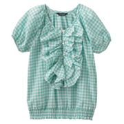 Chaps Ruffled Gingham Top - Girls 7-16
