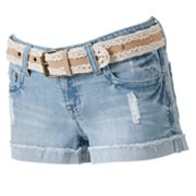 Wallflower Distressed Shortie Shorts - Juniors