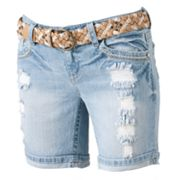 Wallflower Distressed Midi Shorts - Juniors