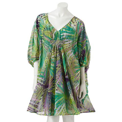Women S Jennifer Lopez Leaf Chiffon Caftan Dress