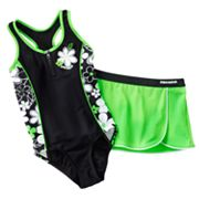ZeroXposur Floral One-Piece Swimsuit and Cover-Up Skirt Set- Girls 7-16