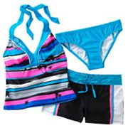 ZeroXposur Striped Mirage 3-pc. Halterkini Swimsuit Set - Girls 7-16