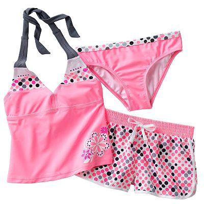ZeroXposur Polka-Dot 3-pc. Halterkini Swimsuit Set - Girls 7-16