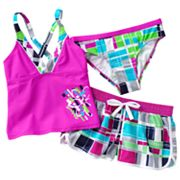 ZeroXposur Checked 3-pc. Tankini Swimsuit Set - Girls 7-16