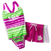 ZeroXposur Tie-Dye One-Piece Swimsuit and Shorts Set - Girls Plus