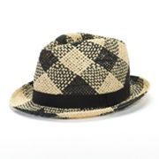Rock and Republic Checked Paper-Braid Fedora