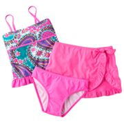 Candie's Paisley Studded 3-pc. Tankini Swimsuit Set - Girls Plus