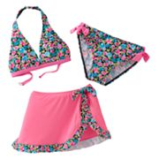 Candie's Floral Pleated 3-pc. Bikini Swimsuit Set - Girls 7-16