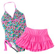 Candie's Floral One-Piece Swimsuit and Cover-Up Set - Girls Plus