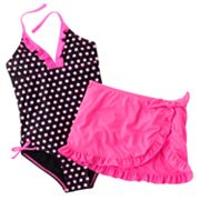 Candie's Polka-Dot One-Piece Swimsuit and Cover-Up Set - Girls Plus