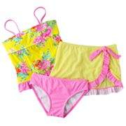 Candie's Floral and Checkered 3-pc. Tankini Swimsuit Set - Girls Plus