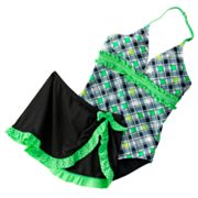 Candie's Checkered One-Piece Swimsuit and Cover-Up Shorts Set - Girls Plus