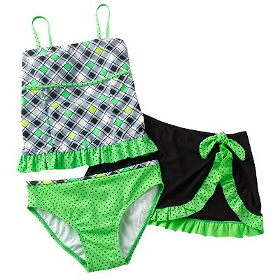 Candie's Checkered 3-pc. Tankini Swimsuit Set - Girls Plus