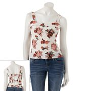 Eyelash Floral Bow Back Crop Tank Top - Juniors