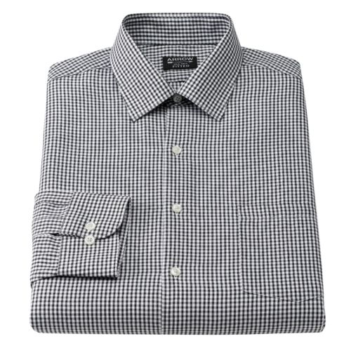 Arrow Fitted Checked Spread-Collar Dress Shirt