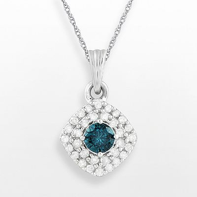 10k White Gold 1/4-ct. T.W. Blue and White Diamond Frame Pendant