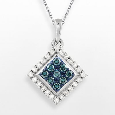 10k White Gold 1/2-ct. T.W. Blue and White Diamond Square Frame Pendant