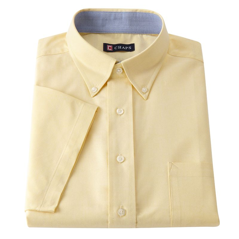 Chaps Classic-Fit Oxford Button-Down Collar Dress Shirt Size S 14-14.5 (Yellow)