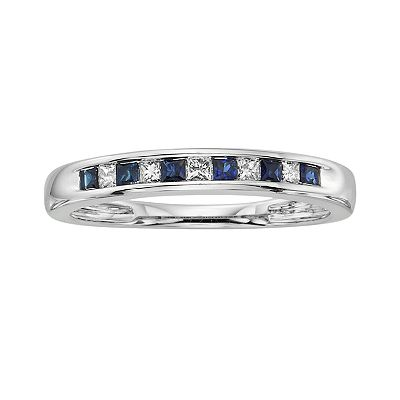 14k White Gold 5/8-ct. T.W. Diamond and Sapphire Ring