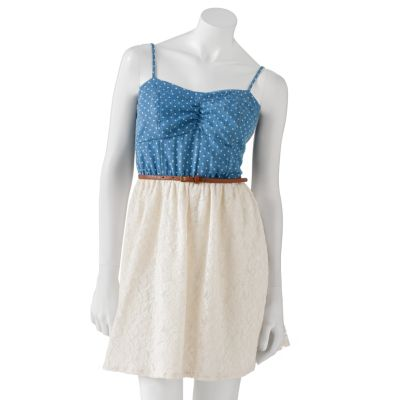 Speechless Polka-Dot Lace Dress - Juniors