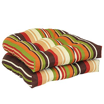 Croft and Barrow Striped 2-pc. Outdoor Wicker Chair Cushion Set