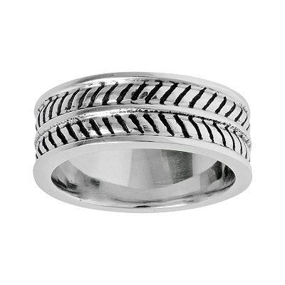 Stainless Steel Black Ion Striped Band - Men