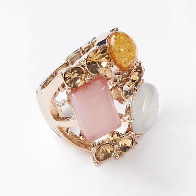 Simply Vera Vera Wang Gold Tone Simulated Crystal Stretch Ring