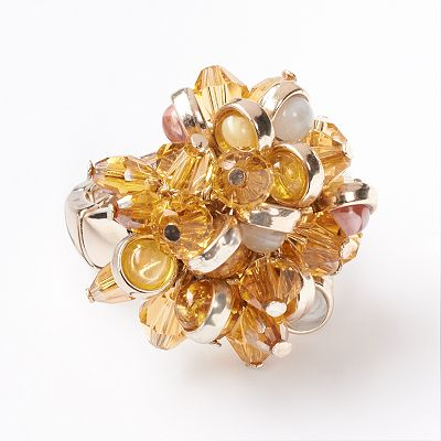 Simply Vera Vera Wang Gold Tone Bead Cluster Stretch Ring