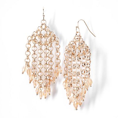 Simply Vera Vera Wang Gold Tone Bead Chandelier Earrings