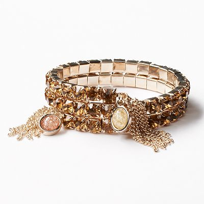 Simply Vera Vera Wang Gold Tone Simulated Crystal Coil Bracelet