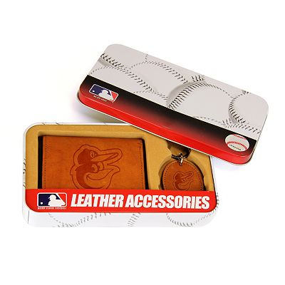 Baltimore Orioles Trifold Wallet and Key Fob Gift Tin - Men