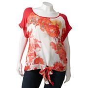 Wrapper Floral Tie-Front Top - Juniors' Plus