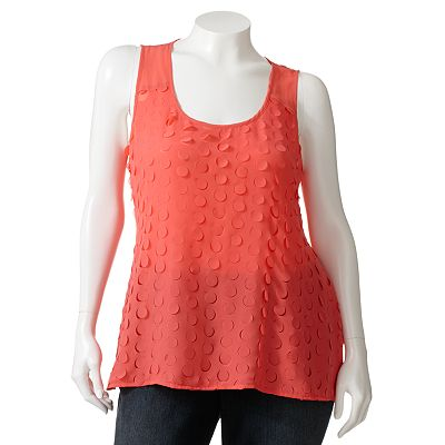 Wrapper Cutout Polka-Dot Top - Juniors' Plus