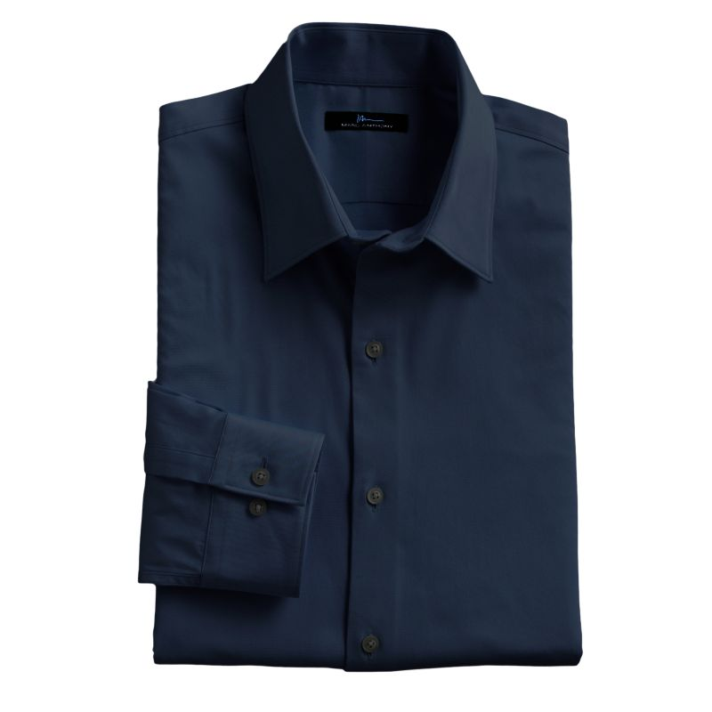 Marc Anthony Slim-Fit Solid Stretch Easy-Care Spread-Collar Dress Shirt, Size: 16.5-32/33 (Blue)