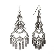 Apt. 9 Jet Simulated Crystal Chandelier Earrings