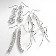 Candie's Silver Tone Simulated Crystal Heart and Fringe Linear Drop Earring Set