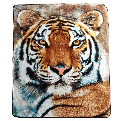 Watchful Tiger Hi Pile Super Plush Throw Blanket