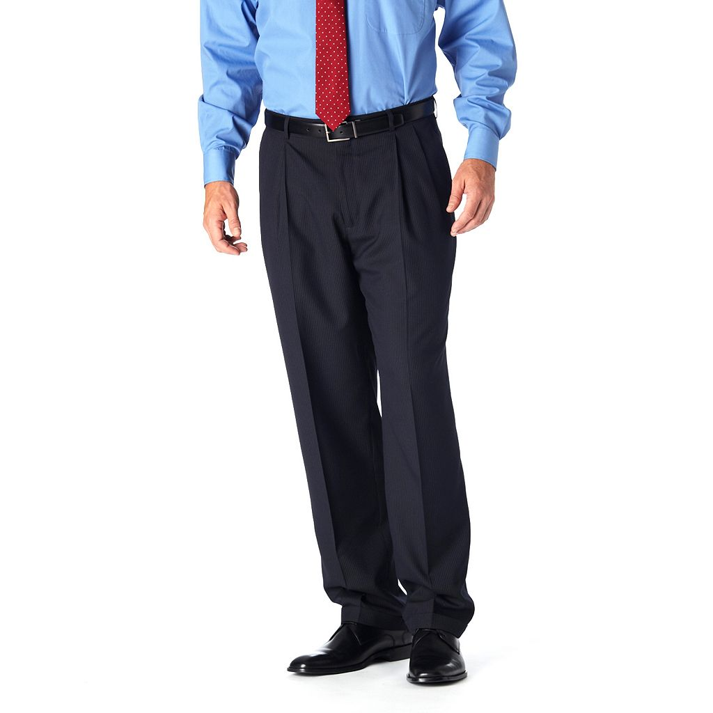 Men's Haggar® Classic-Fit Pleated Navy Pinstripe Suit Pants