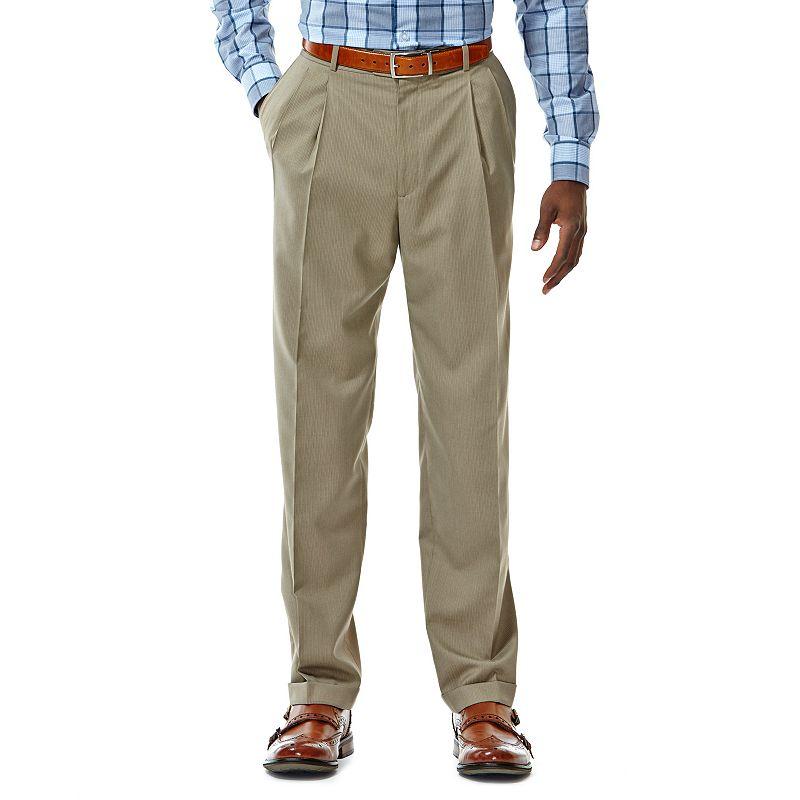 Haggar Classic-Fit Pleated Khaki Herringbone Suit Pants - Men Size 38X29 (Beige/Khaki)