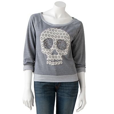 Rewind Lace and Stud Skull Sweatshirt - Juniors
